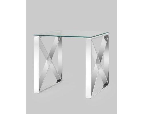Журнальный стол Кросс 55*55 серебро
