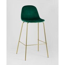 Барный стул Валенсия велюр зеленый (золотые ножки)
