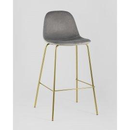 Барный стул Валенсия велюр серый (золотые ножки)