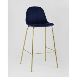 Барный стул Валенсия велюр синий (золотые ножки)