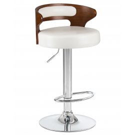 Барный стул LMZ-1018 (коричневое дерево/белый)