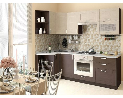 Кухня Лофт-03 угловая (cappuccino weralinga/wenge weralinga)