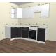 Угловая кухня Валерия 1300х2300 (белый металлик/черный металлик)