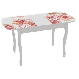 Раздвижной обеденный стол Экстра-2 (белый/азалия)