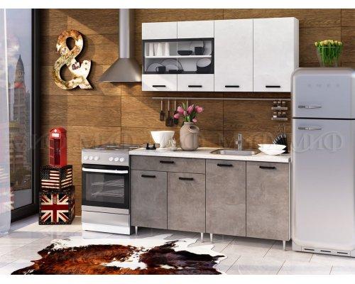 Кухня Рио 1600 ЛДСП (бетон светлый/темный)