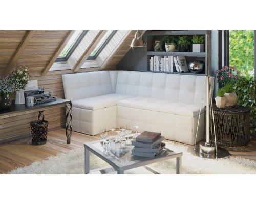 Кухонный уголок со спальным местом Домино (кож.зам белый)