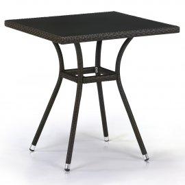 Обеденный стол из искусственного ротанга T282BNS-W53-70x70 Brown
