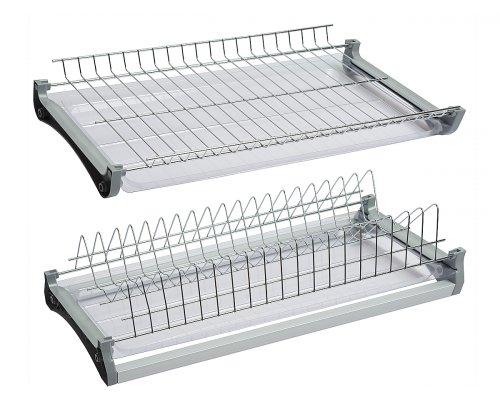 Посудосушитель 2-х уровневый (хром) с поддоном 800