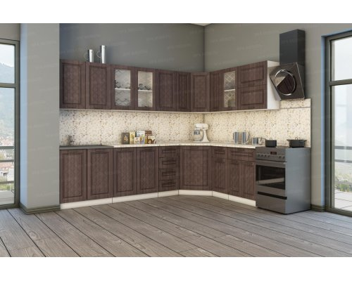 Угловая кухня Агава 2850х1850 (лиственница темная)