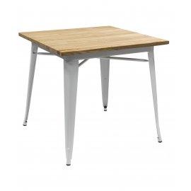 Обеденный стол Tolix wood 80 белый матовый/светлое дерево