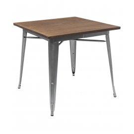 Обеденный стол Tolix wood 80 серебро матовый/светлое дерево