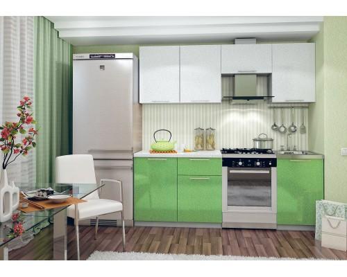 Кухня София 2.1 (белый-зеленый металлик)