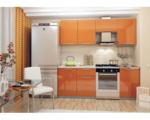 Кухня София 2.1 (оранжевый металлик)