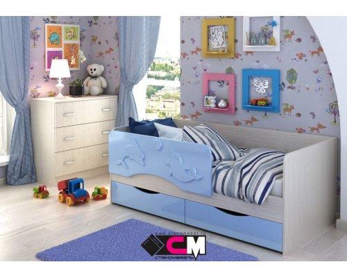 Детская кровать Алиса КР-812 (голубой металлик)