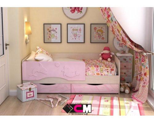 Детская кровать Алиса КР-811 (розовый металлик)