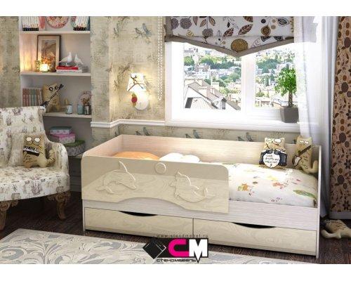 Детская кровать Алиса КР-811 (ваниль глянец)