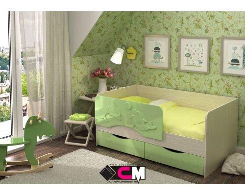 Детская кровать Алиса КР-811 (зеленый металлик)