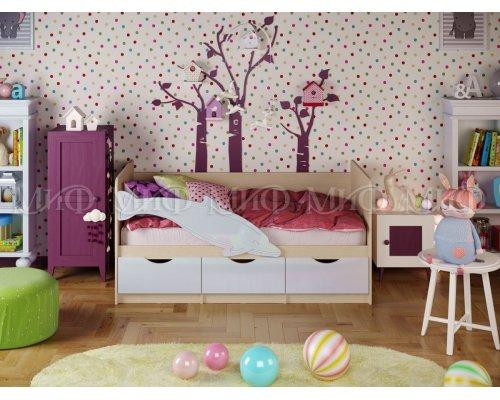 Детская кровать Дельфин-1 (белый глянец) 80х160