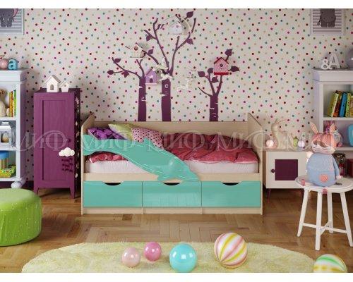 Детская кровать Дельфин-1 (бирюза глянец) 80х160