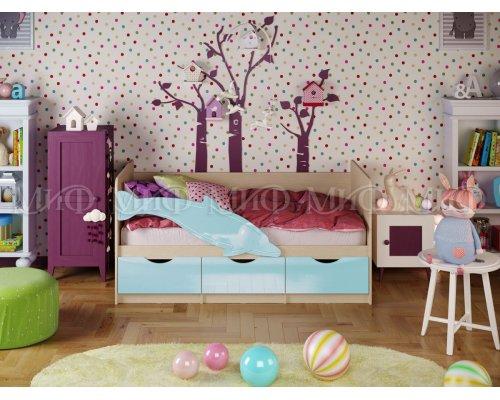 Детская кровать Дельфин-1 (голубой глянец) 80х160