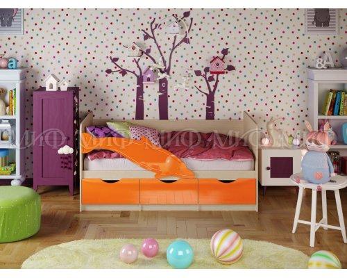 Детская кровать Дельфин-1 (оранжевый глянец) 80х160