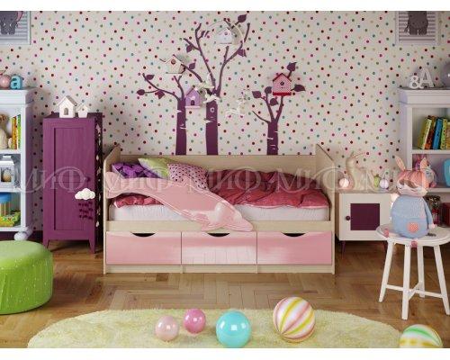 Детская кровать Дельфин-1 (розовый глянец) 80х160