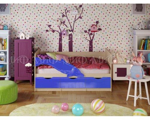 Детская кровать Дельфин-1 (синий глянец) 80х160