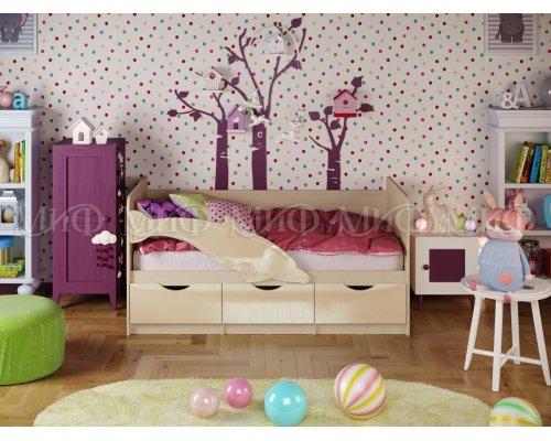 Детская кровать Дельфин-1 (ваниль глянец) 80х160