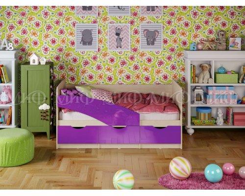 Детская кровать Бабочки (фиолетовый глянец) 80х160