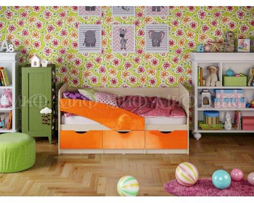 Детская кровать Бабочки (оранжевый глянец) 80х160
