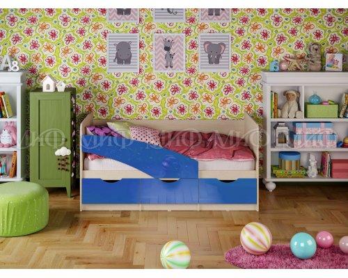 Детская кровать Бабочки (синий глянец) 80х160