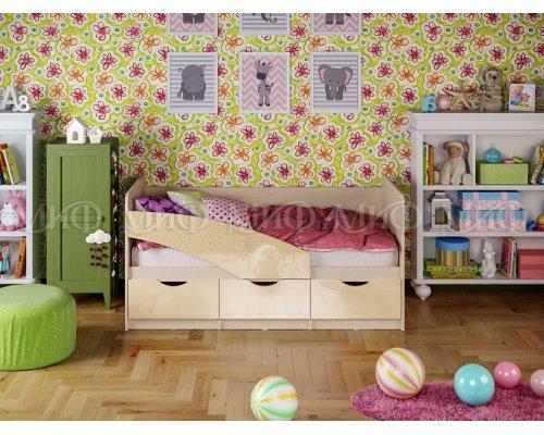 Детская кровать Бабочки (ваниль глянец) 80х180
