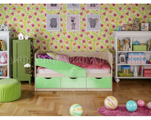 Детская кровать Бабочки (салатовый глянец) 80х160