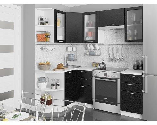 Угловая кухня Валерия М-04 черный металлик