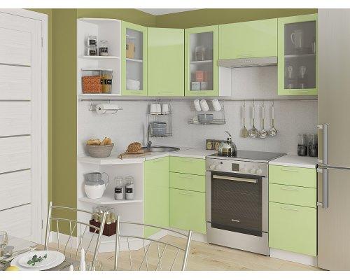 Угловая кухня Валерия М-04 салатовый глянец